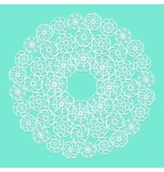 White lace serviette on blue background vector