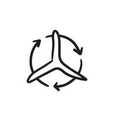 Windmill with arrows sketch icon vector
