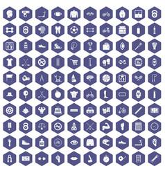 100 kettlebell icons hexagon purple vector