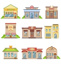 Commercial buildings exterior design set of vector