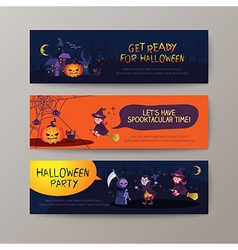 Set of happy halloween banners background vector