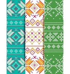 Set winter embroidery pattern vector