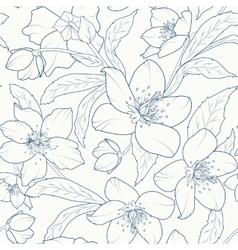 Christmas rose hellebore flowers pattern dark blue vector image
