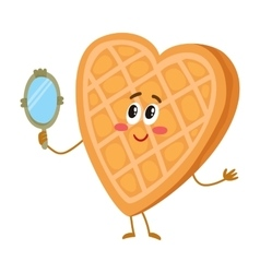 Cute and funny waffke wafer character looking vector image