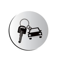 degraded button car shaped keychain icon vector image