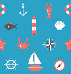 Marine seamless pattern nautical background sea vector