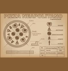 pizza neapolitano ingredients draw scheme vector image
