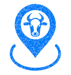 Cow location icon grunge watermark vector