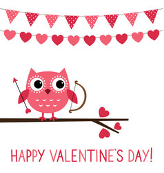 cute owl valentine card vector image