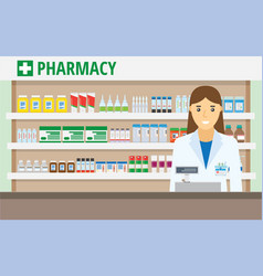 Woman pharmacist at the counter in a pharmacy vector