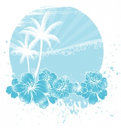 Palm tree hibiscus vector