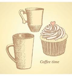 Sketch coffee set in vintage style vector image