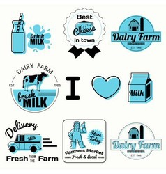 Dairy badges black vector