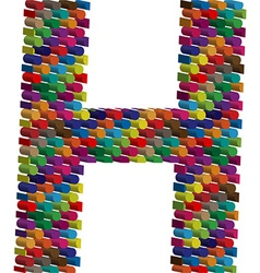 3d font letter H vector image vector image