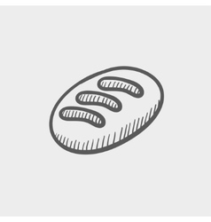Bread sketch icon vector