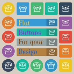 Retro telephone handset icon sign set of twenty vector