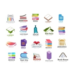 Book logo template set back to school vector