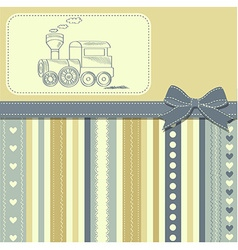 New baby announcement card with retro toy vector