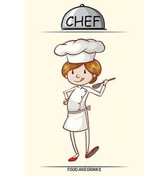 Female chef trying out the food vector