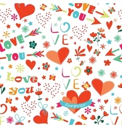 Happy valentines day floral seamless pattern vector