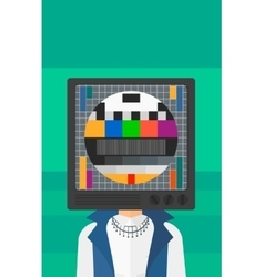 Woman with tv head vector
