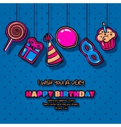 Happy birthday card with hanging items balloon vector