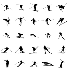 Ski silhouette set vector
