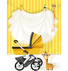 Baby shower yellow card vector image