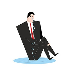 Businessman cries Boss in puddle of tears Tosca vector image vector image