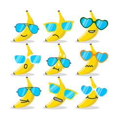 Cartoon banana emojis with sunglasses vector