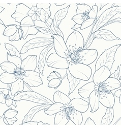 Christmas rose hellebore flowers pattern dark blue vector
