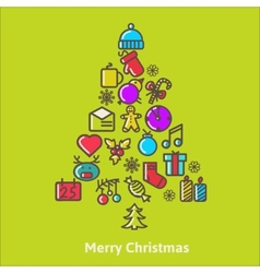 Christmas Tree Made of Xmas icons and elements vector image