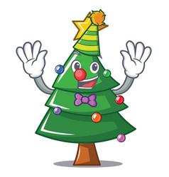 Clown christmas tree character cartoon vector