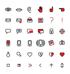 communication icons set 3 notext vector image