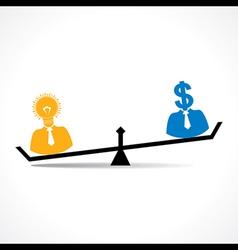 Comparison between men having idea and money stock vector