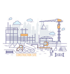Construction site or area with constructed vector