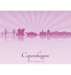 Copenhagen skyline in purple radiant orchid vector image