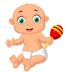 Cute baby cartoon playing with macara toy vector image vector image