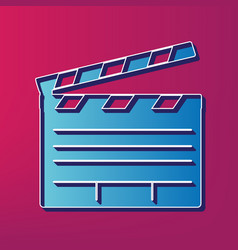 Film clap board cinema sign blue 3d vector