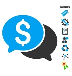 Financial messages flat icon with bonus vector