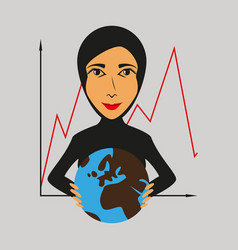 Flat icon on theme arabic business woman and vector