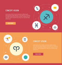 flat icons crab goat space and other vector image