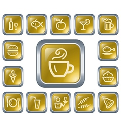Food and drinks buttons vector image vector image