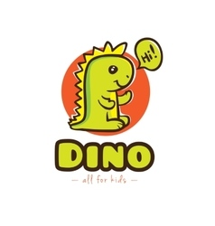 Funny cartoon dino logo baby dinosaur vector