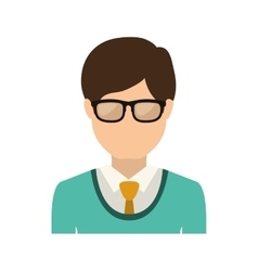 half body man with formal suit and glasses vector image