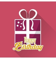 Happy birthday gift box ribbon pink background vector