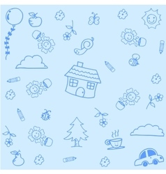 House doodle art with blue backgrounds vector
