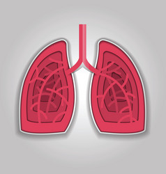 human lungs paper carving style vector image