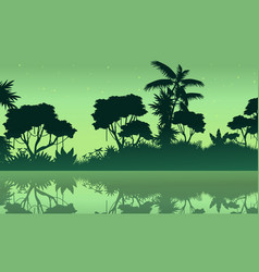 Jungle with lake scene of silhouette vector