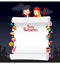 Kids in halloween costume with dessert on banner vector